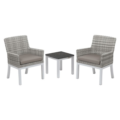 Travira 3pc Patio Conversation Set with End Table - Argento Wicker - Charcoal Tabletop - Oxford Garden - image 1 of 3