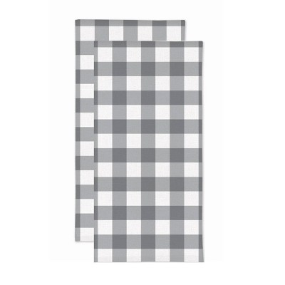 2pk Gingham Check Print Kitchen Towels Gray - MU Kitchen