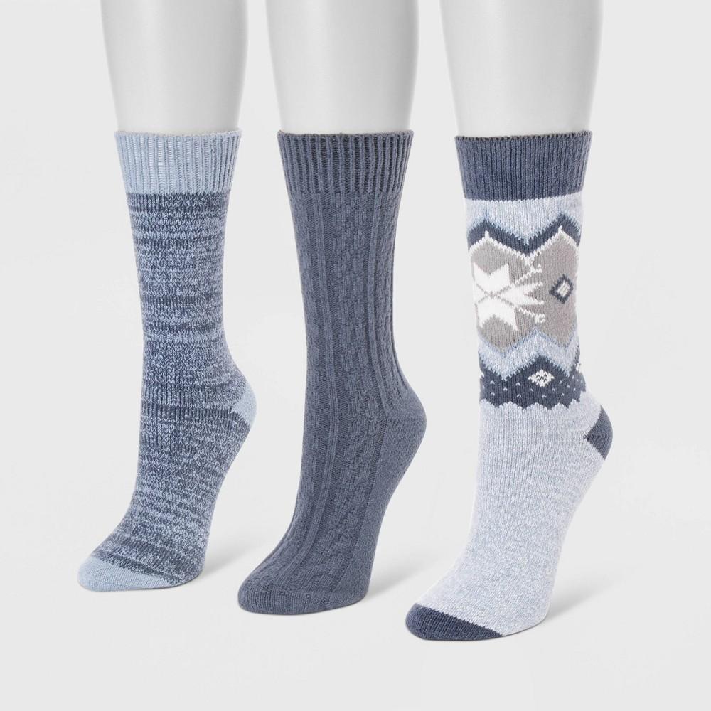 Image of MUK LUKS Women's 3pk Boot Socks - Denim Blue One Size, Women's, Blue Blue