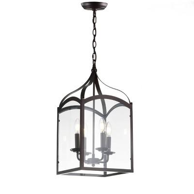 "11"" Metal/Glass Ruth Lantern Pendant Ceiling Light (Includes Energy Efficient Light Bulb) Black - JONATHAN Y"