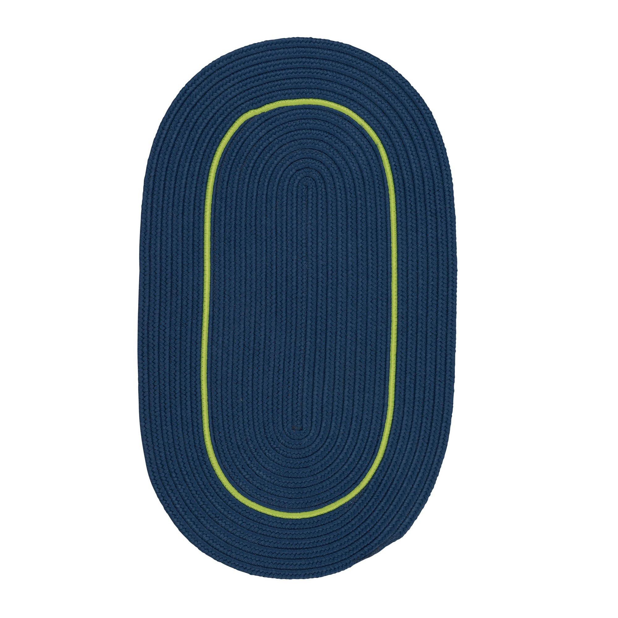 6'X9' Solid Braided Oval Area Rug Blue - Colonial Mills