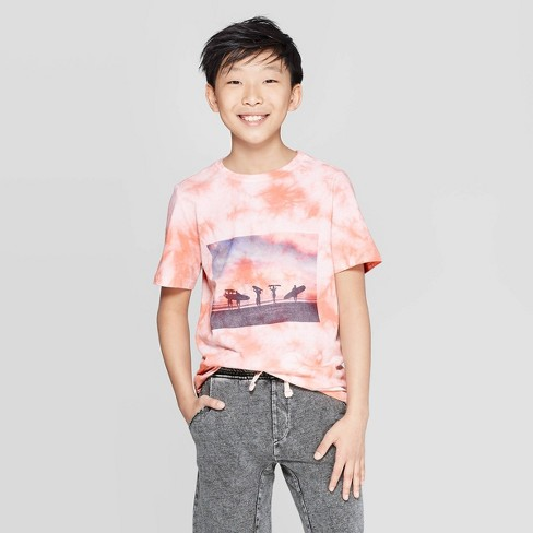 Boys' Short Sleeve Tie Dye Graphic T-Shirt - art class™ Red - image 1 of 3