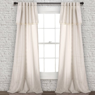 "Set of 2 40""x84"" Ivy Tassel Window Curtain Panels Beige - Lush Décor"