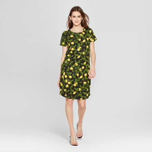Women's Lemon Print Short Sleeve T-Shirt Dress - K by Kersh Black/Green - image 1 of 2