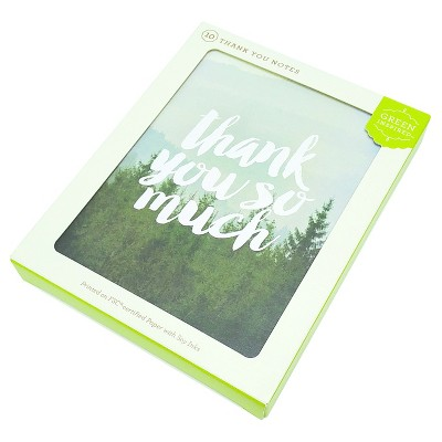 Green Inspired 10ct Foggy Forest Thank You Cards