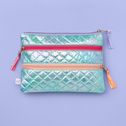 More Than Magic™ 3-Pocket Holographic Quilted Heart Zipper Pencil Pouch