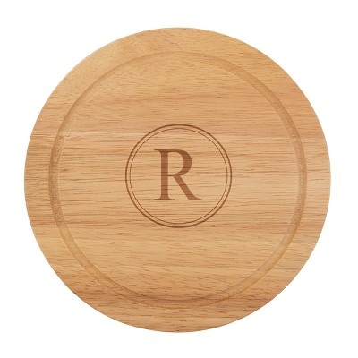 Cathy's Concepts Monogram Acacia Wood 5pc Serving Tray with Tool Set R