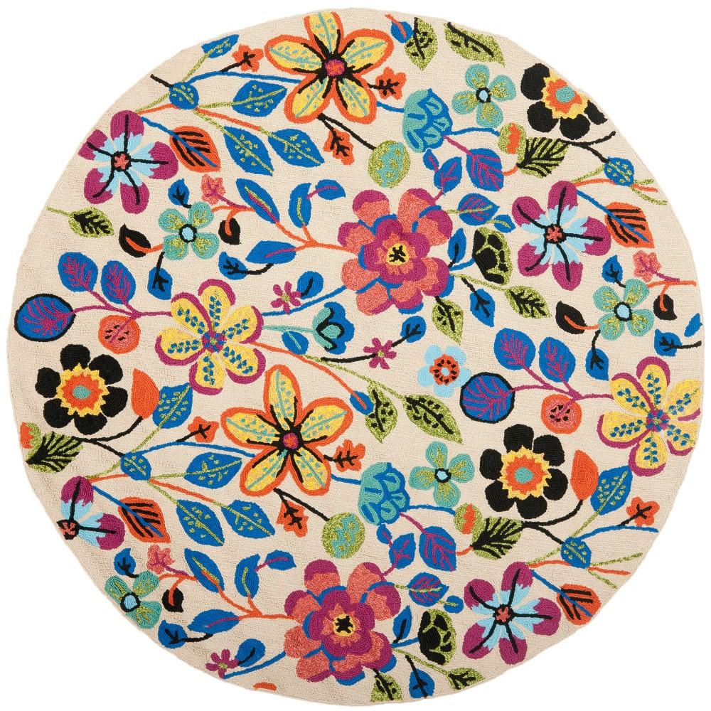6' Floral Round Area Rug Ivory - Safavieh, White
