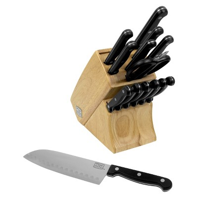 Chicago Cutlery® Essentials 15 Piece Stainless Steel Knife Block Set - Black