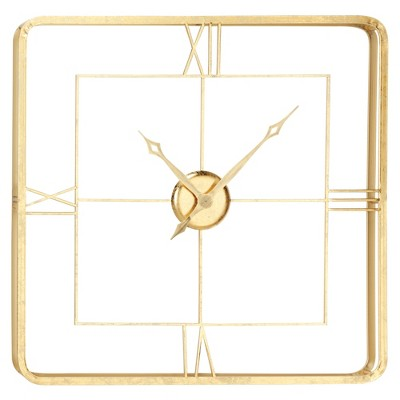 """35.5"""" x 35.5"""" Extra Large Square Wall Clock with Roman Numerals Gold - Olivia & May"""