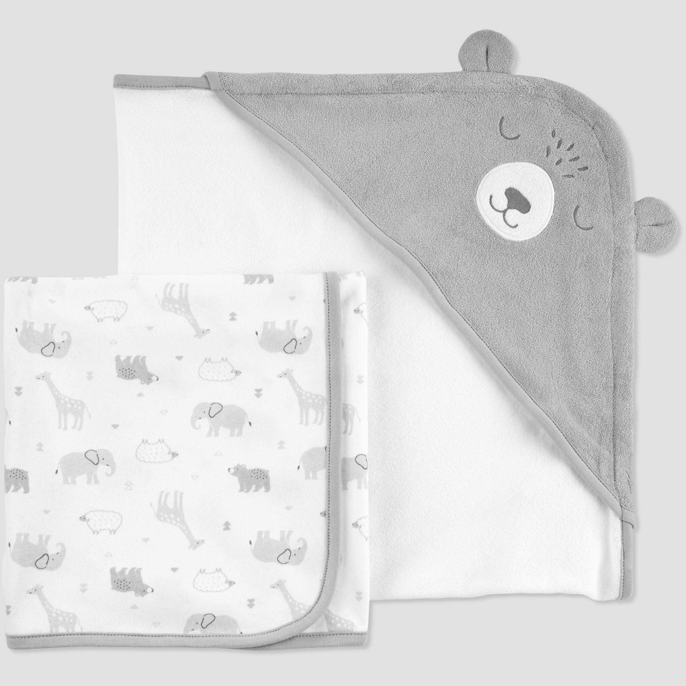 Image of Baby Animals Bath Towel Set - Just One You made by carter's Gray