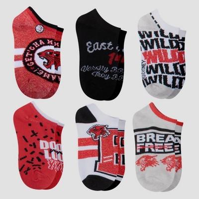 Girls' Disney High School Musical 6pk Socks - Red S/M