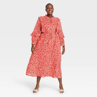 Women's Floral Print Balloon Long Sleeve Soft Ruffle Dress - Who What Wear™