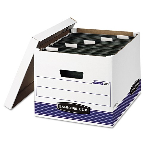 Bankers Box HANG'N'STOR Storage Box Legal/Letter Lift-off Lid White/Blue 4/Carton 00785 - image 1 of 1