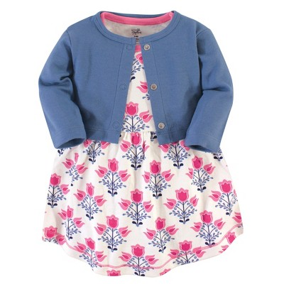 Touched by Nature Baby and Toddler Girl Organic Cotton Dress and Cardigan 2pc Set, Abstract Flower