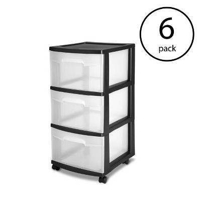 Sterilite 3 Drawer Storage Cart with Clear Drawers and Black Frame (6 Pack)