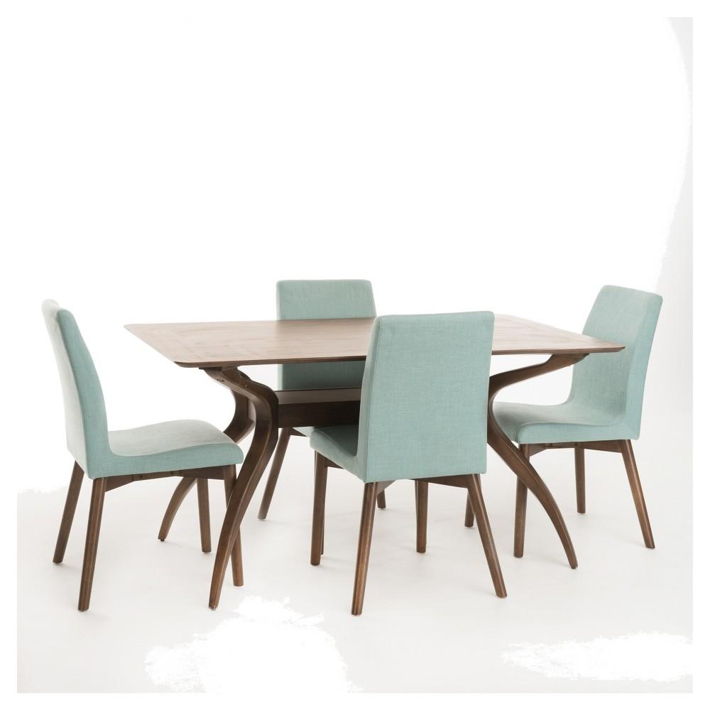 Orrin 60 5pc Dining Set - Mint (Green)/Natural Walnut - Christopher Knight Home