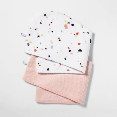 2pk Hair Wrap Paint Splatter/Pink - Room Essentials™