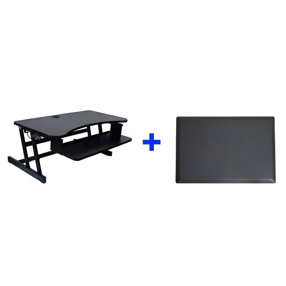 40 Adjustable Desk Riser with Medium Energizing Mat Black - Rocelco