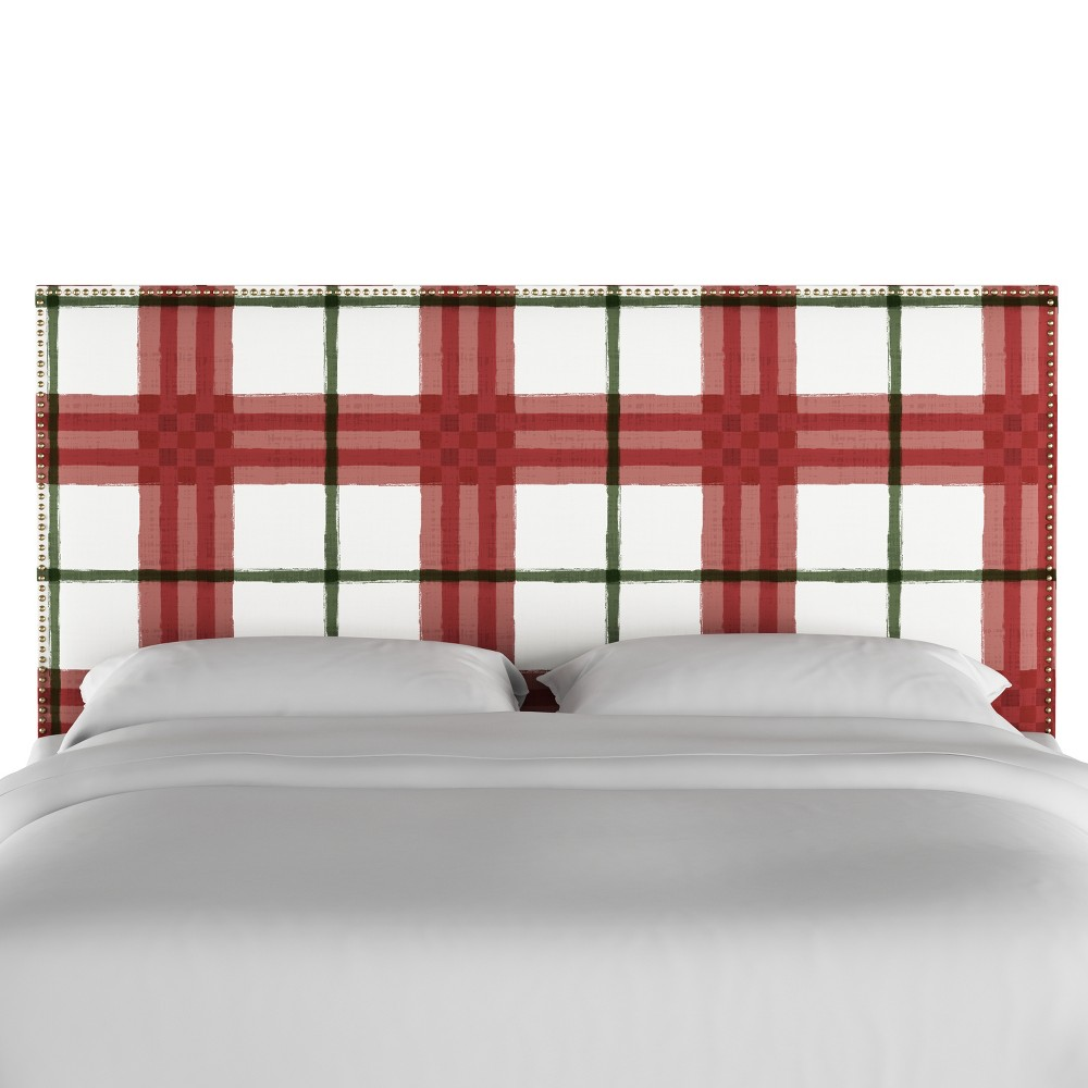 California King Arcadia Nailbutton Patterned Headboard Brush Plaid Holiday - Skyline Furniture