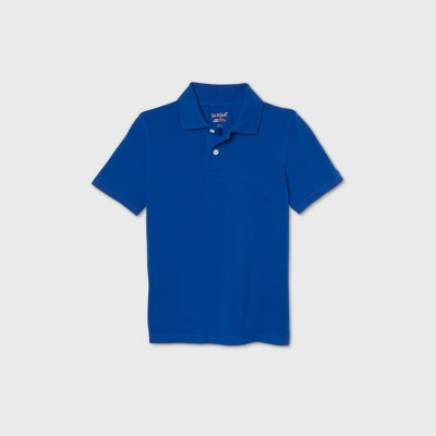 Boys' Short Sleeve Stretch Pique Uniform Polo Shirt - Cat & Jack™ Bright Blue