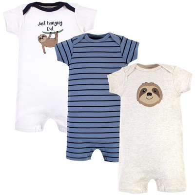 Hudson Baby Infant Boy Cotton Rompers, Sloth
