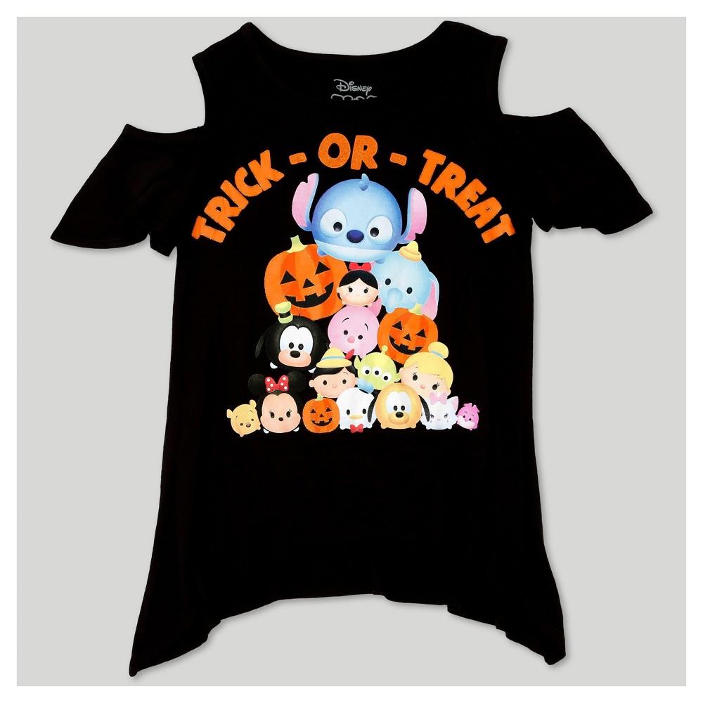 Girls' Disney Tsum Tsum Halloween Cold Shoulder Tunic Top - Black L