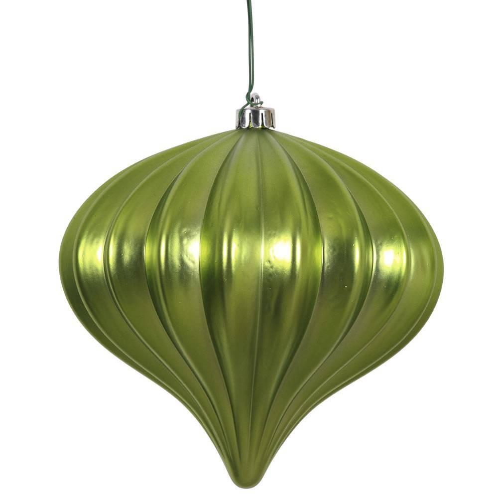 "Image of ""3ct Vickerman 5.7"""" Matte Onion Ornament, UV Coated Ornament Set Lime"""