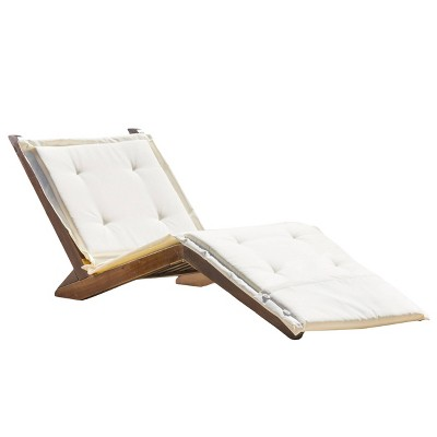 Sonora Wood Patio Folding Lounger with Cushion - Cream Cushion - Christopher Knight Home