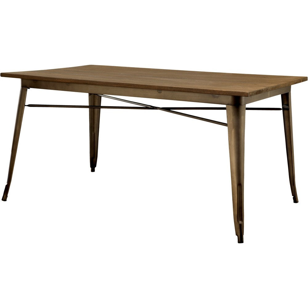 Smithson Metal Frame w/Wooden Table Top Dining Table Natural Elm - Sun & Pine
