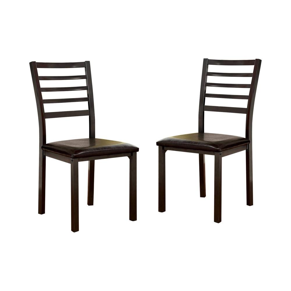 Image of Set of 2 Larriston Slat Back Padded Leatherette Side Chair Black - ioHOMES