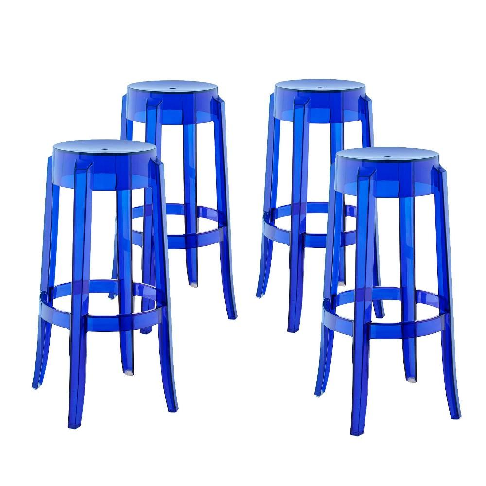 Casper Bar Stool Set of 4 Blue - Modway