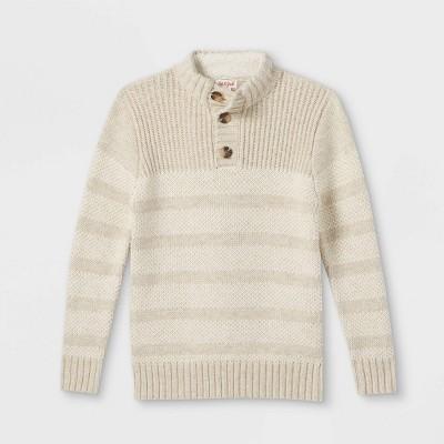 Boys' Striped Mock Neck Sweater - Cat & Jack™ Oatmeal