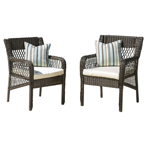 Oakridge Set of 2 Wicker Patio Dining Chair with Cushion - Brown - Christopher Knight Home - image 1 of 4