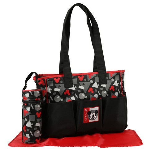 dd5f5b32728 Disney Mickey Mouse Diaper Bag 3pc - Black Geo   Target