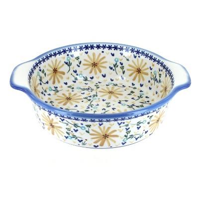 Blue Rose Polish Pottery Yellow Daisy Round Baker