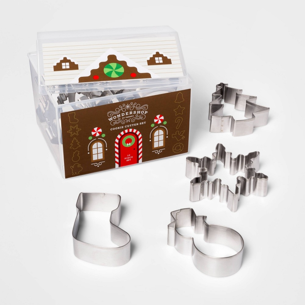 Image of 10pc Stainless Steel Cookie Cutter Set with Gingerbread House Container - Threshold , Silver