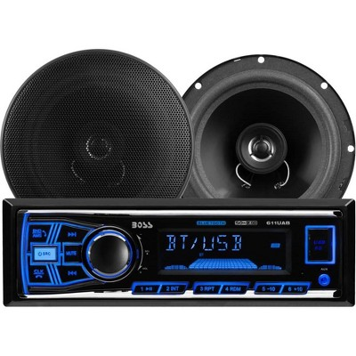 BOSS Audio Systems 638BCK Single Din Bluetooth DM Receiver Bundle Car Stereo Pack with 2 6.5-Inch Full-Range Speakers, Black