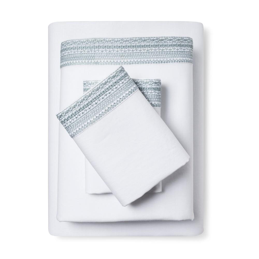 Image of 100% Linen Sheet Set (California King) Aqua Spill - Fieldcrest