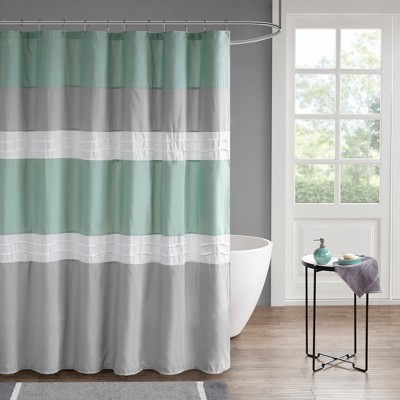 Arlie Pieced Lined Shower Curtain Seafoam/Gray