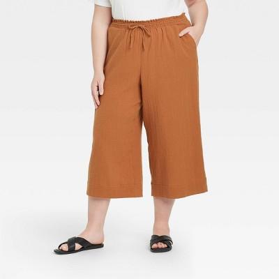 Women's Plus Size Cropped Gauze Pants - Ava & Viv™