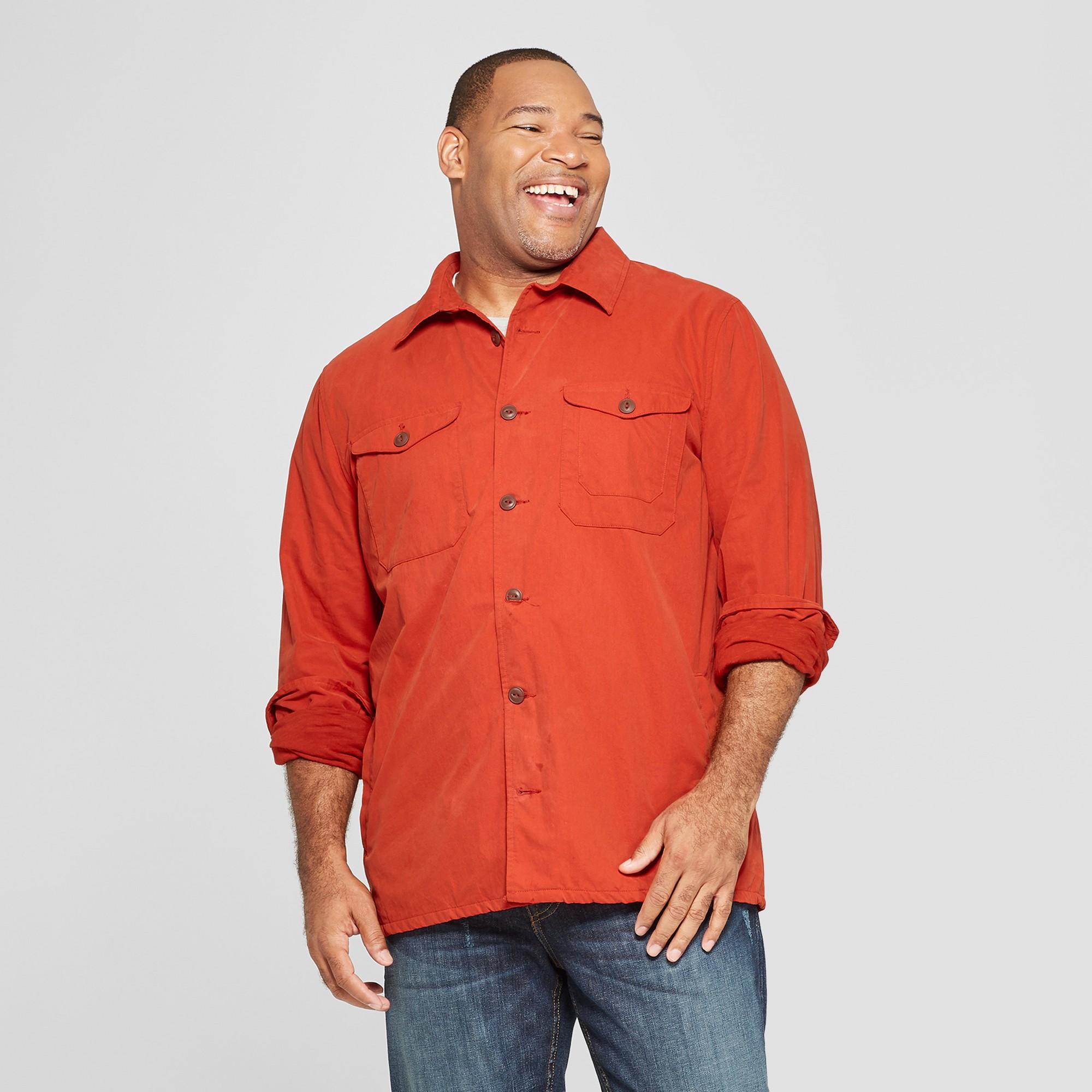 Men's Big & Tall Lightweight Shirt Jacket - Goodfellow & Co Red Oak 3XBT