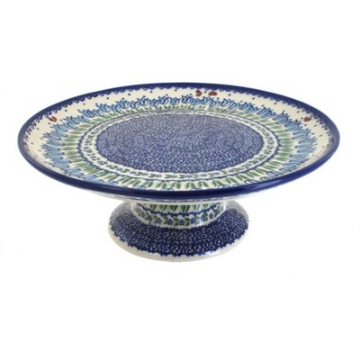 Blue Rose Polish Pottery Garden Tulip Cake Plate