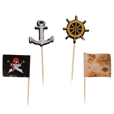 Juvale 200-Pack Pirate Flag Anchor Ship Wheel Treasure Map Cupcake Decorations Cake Toppers Food Picks