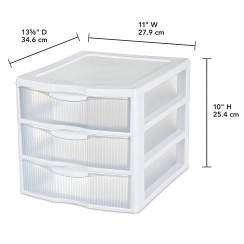 Sterilite 3 Drawer Medium Countertop Unit White With Clear Drawers Room Essentials Target