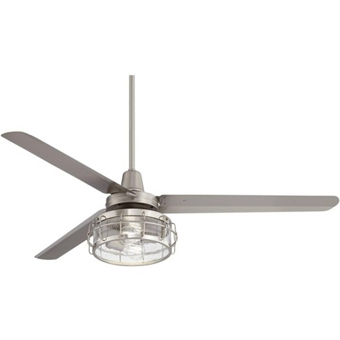 60 Casa Vieja Industrial Indoor Ceiling Fan With Light Kit Led Remote Brushed Nickel Clear Seedy Glass For Living Room Kitchen Bedroom Target