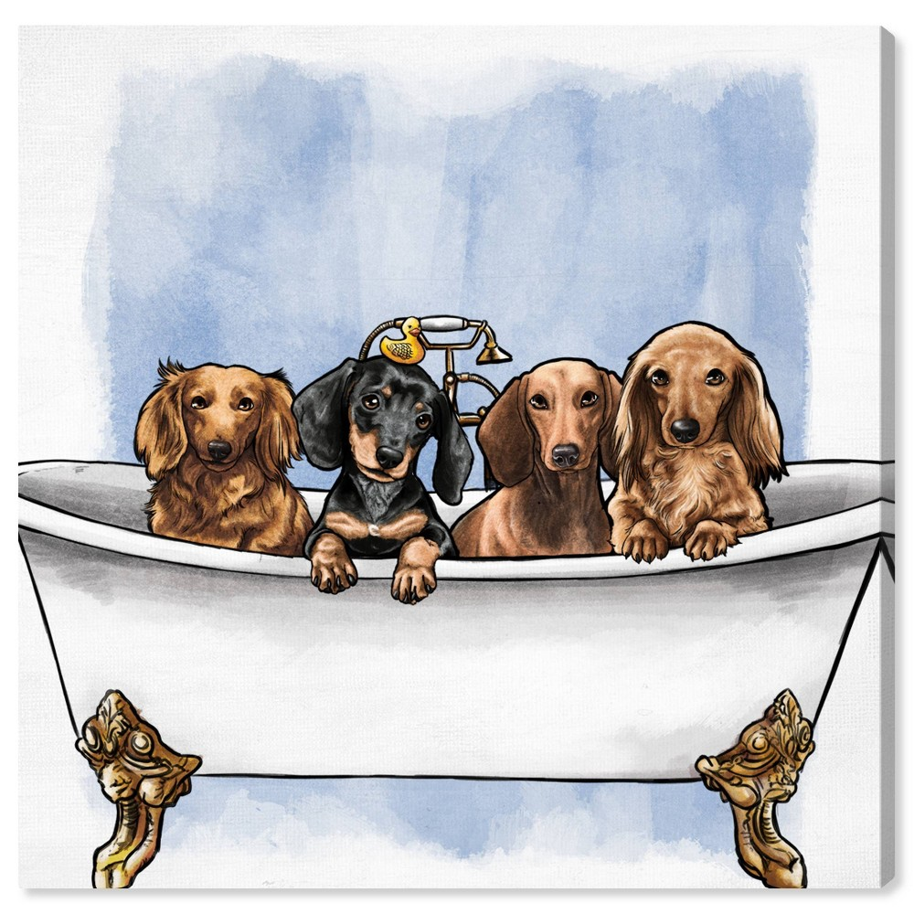 Image of 12'' x 12'' Dachs in The Tub Unframed Wall Canvas - Oliver Gal