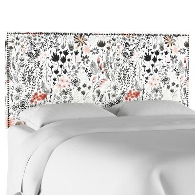 Arcadia Nail Button Botanical Printed Headboard - Skyline Furniture