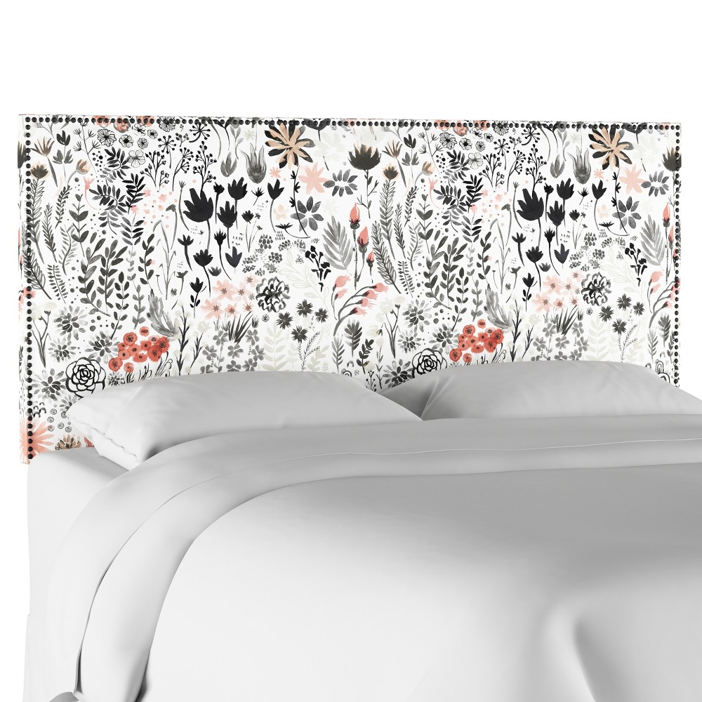 Queen Arcadia Nailbutton Patterned Headboard Winter Botanical Red - Skyline Furniture