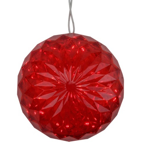 """Penn 6"""" Red LED Lighted Hanging  Crystal Sphere Ball Outdoor Decoration - image 1 of 4"""
